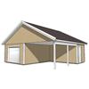 Kombinerat garage och carport med förråd med 25o sadeltak