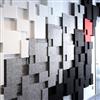 Akustikmiljö NIVÅ tak- och väggpaneler på vägg