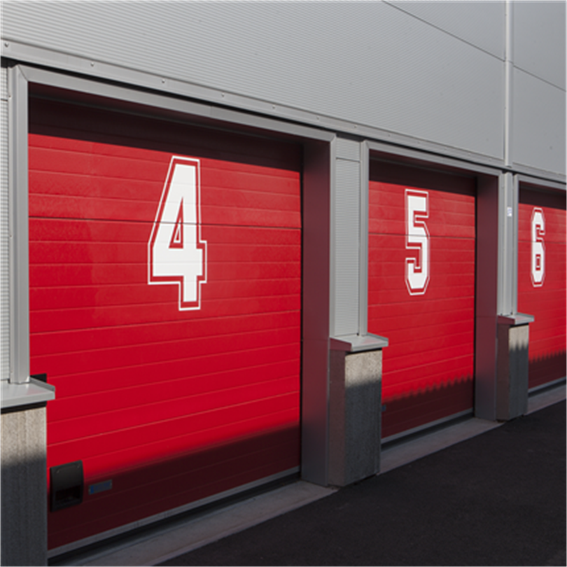 Reco garageportar, röda, numrerade