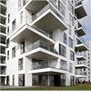 Vit fasadskiva med slät yta, moderna lägenheter