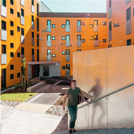 STENI Colour fasadskiva, Bjølstad studentbostäder i Fredrikstad