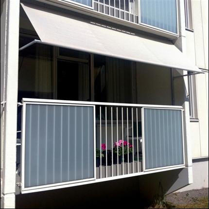 Balkongmarkis, kompakt fallarmsmarkis för inbyggda balkonger, justerbar fjäderspänning, gasdämpare