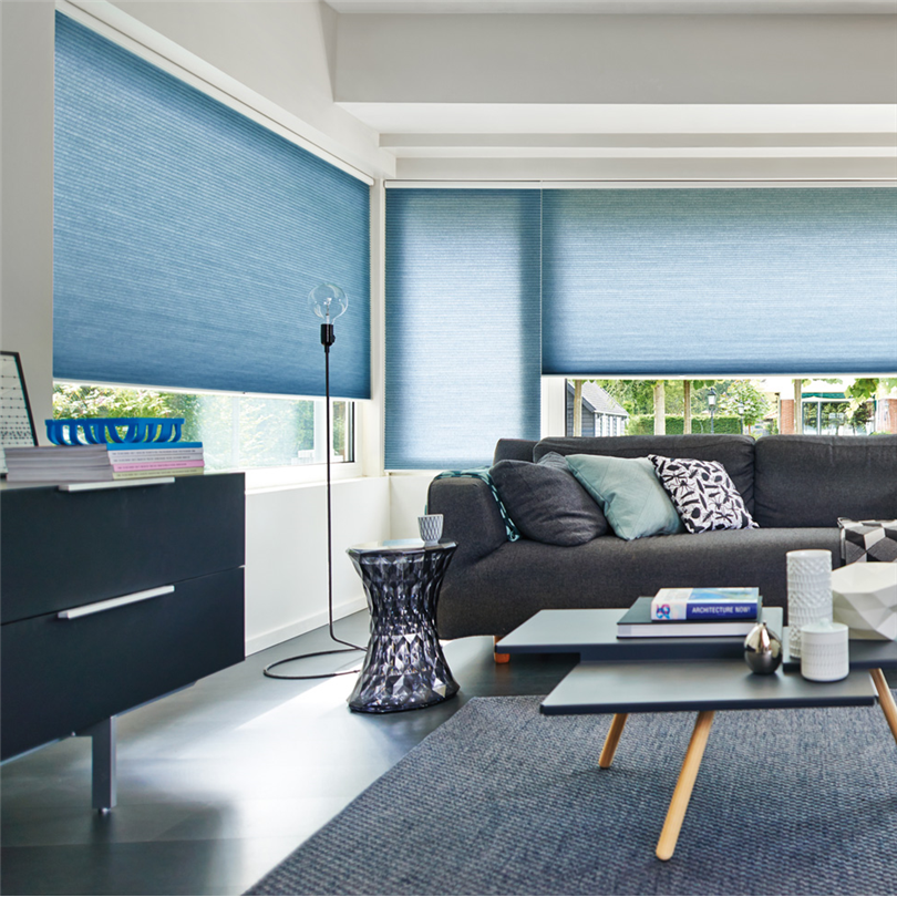 StyRa Duette plisségardiner av textilväv, mörkläggning, solskydd, solskyddsgardin, isolerande egenskaper, mellanglas, frihängande, ljusreglering