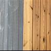 Woodsafe PRO träpaneler. Den vänstra är färgad i grått, den högra är naturlig.