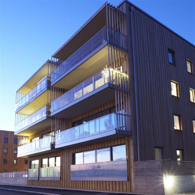 Woodsafe Exterior WFX brandskyddsimpregnerade träpaneler, Rindö Brygga