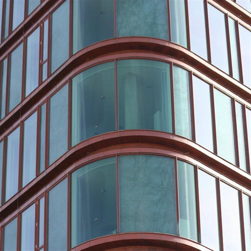 Kopparklädda, fasta furufönster, SEB kontor, Köpenhamn