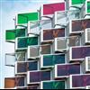 Soltech Facade Semitransparent solcellsfasade i öppet fasadsystem på parkeringshus