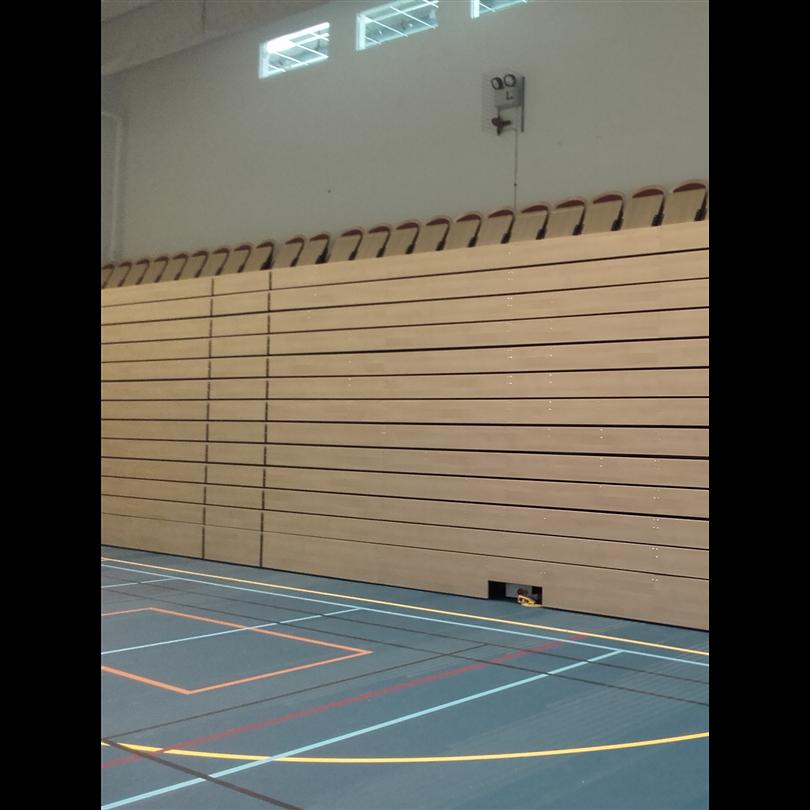Alfing har levererat en teleskopläktare till idrottshallen på Vallastadens skola.