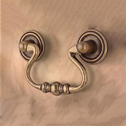 Beslagsboden Ringhandtag zink, antik mässingsfinish