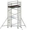 Påbyggbar rullställning, bilden visar 1,4×2,4 m med 4,35 m plattformshöjd. Kan byggas till 12,48 m plattformshöjd