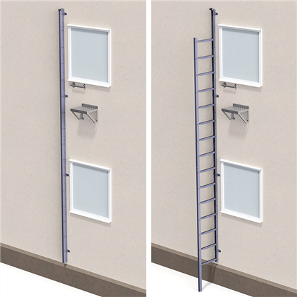 PW utfällbar fasadstege/utrymningsstege