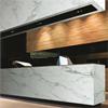 Formica TrueScale högtryckslaminat, F3460 Calacatta Marble på receptionsdisk