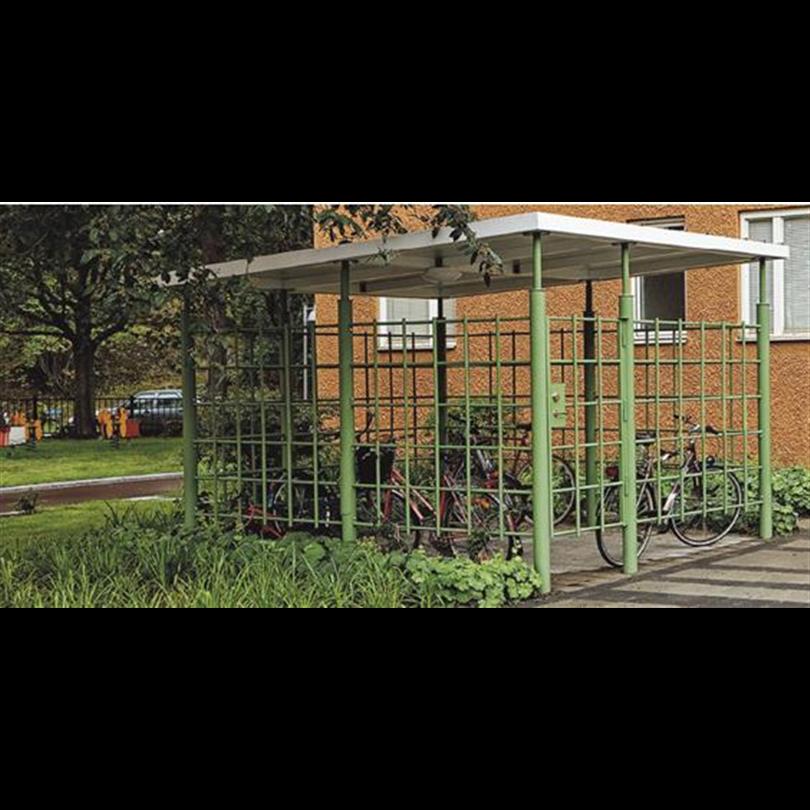 Sirius låsbart cykelhus. Cykelhuset finns i en standardvariant, Ö70-30, som är 6,9×3,5 m med 2 dörrar, avsedd för 15 cyklar