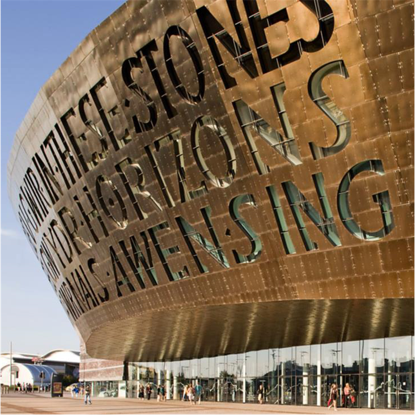 Millennium Centre, Cardiff, Wales. 6WL ColourTex® Bronze och Canvas ColourTex® Bronze