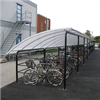 Klassiskt cykelgarage med rundat tak