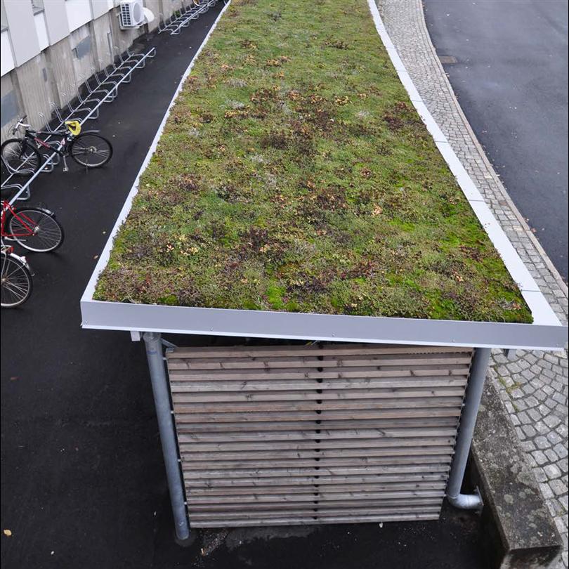 Blidsbergs Basta cykelgarage, med sedumtak