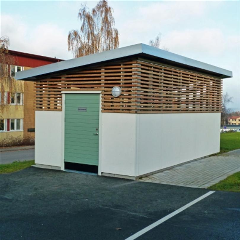 Blidsbergs gårdshus, med mineritskivor och avväxlingar av limträ