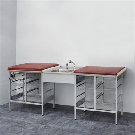 Budget, Skötbord med 12 st trådkorgar och tvättbänk i mitten