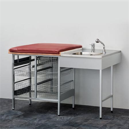 Budget, Skötbord med 6 st trådkorgar och tvättbänk höger