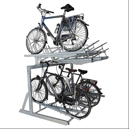 Cykelställ i två våningar, plats för åtta cyklar