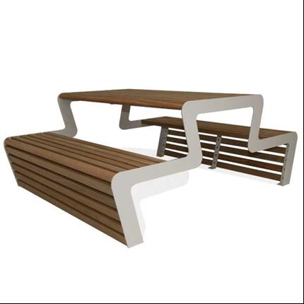 Picknick-bord iträ, utan rygg