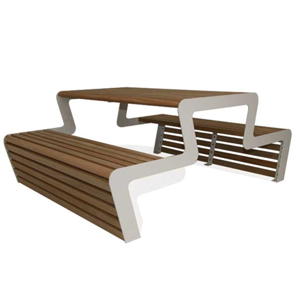 Picknick-bord i trä, utan rygg
