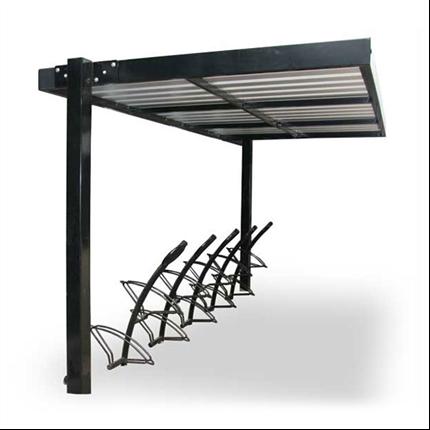Väderskyddande cykeltak, platt tak med vattenrännor