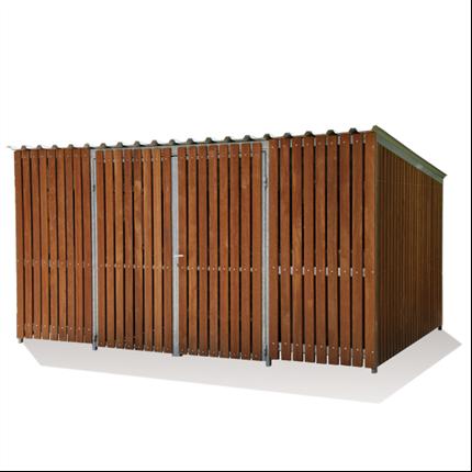 Cykelgarage i trä, dubbeldörrar, stor förvaringsplats
