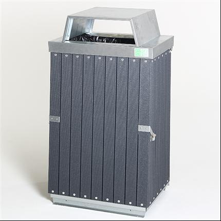 Underhållsfri säckhållare med öppen inkasttopp
