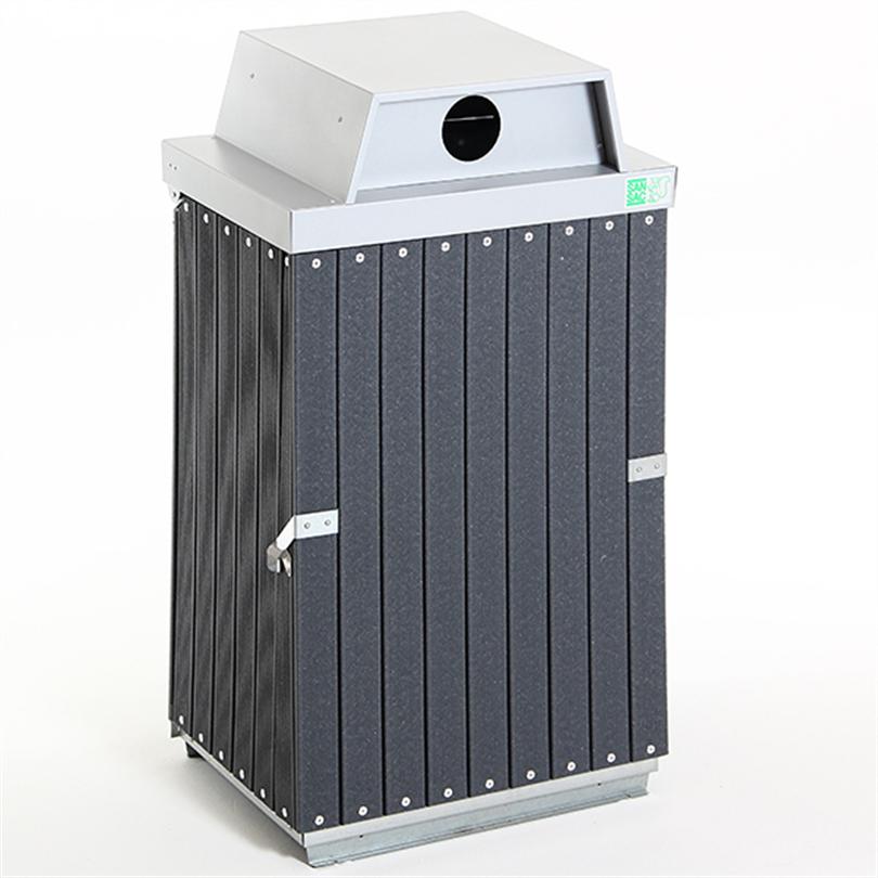 Underhållsfri säckhållare med inkasthål