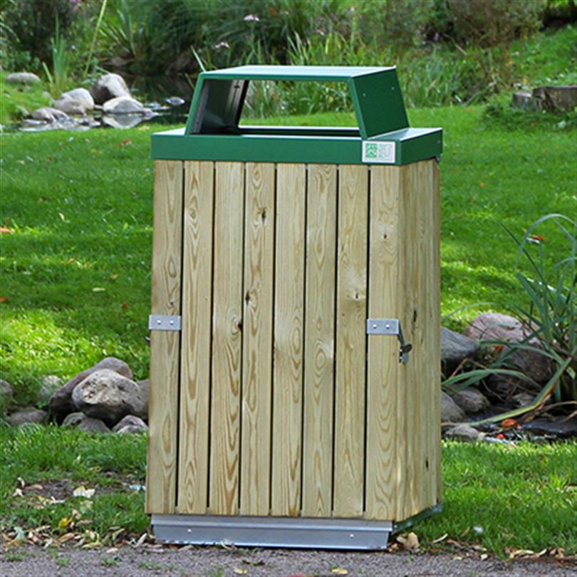San Sac säckhållare med träpanel och öppen inkasttopp
