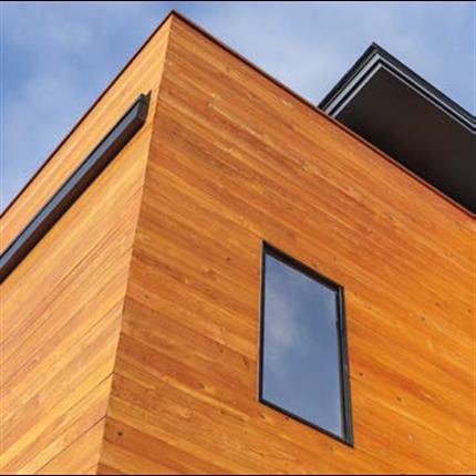 Burnblock brandskyddsimpregnerat trä i fasad