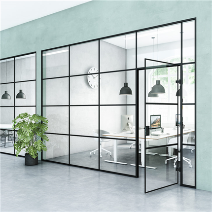 GSAB Alu-Room² väggsystem med svarta detaljer
