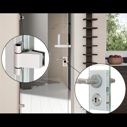 GSAB Lux Karm, gångjärn, låshus till glasdörr