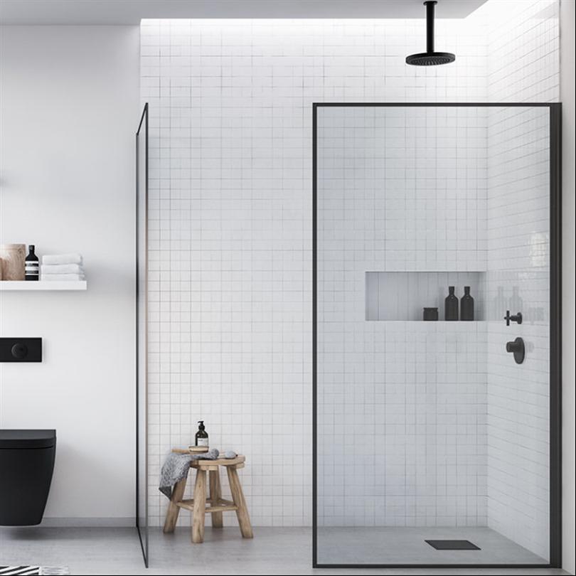 Invitrea Skärgårdsserien duschhörn med svarta Aqua-profiler