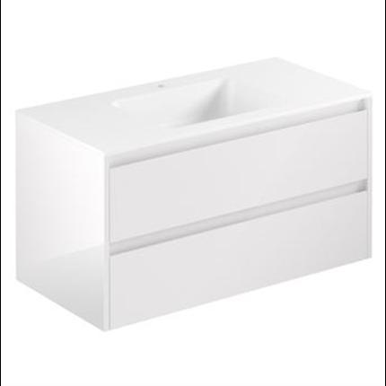 Alterna All Day möbelpaket kommod med tvättställ av aSTONE, Vit högblank