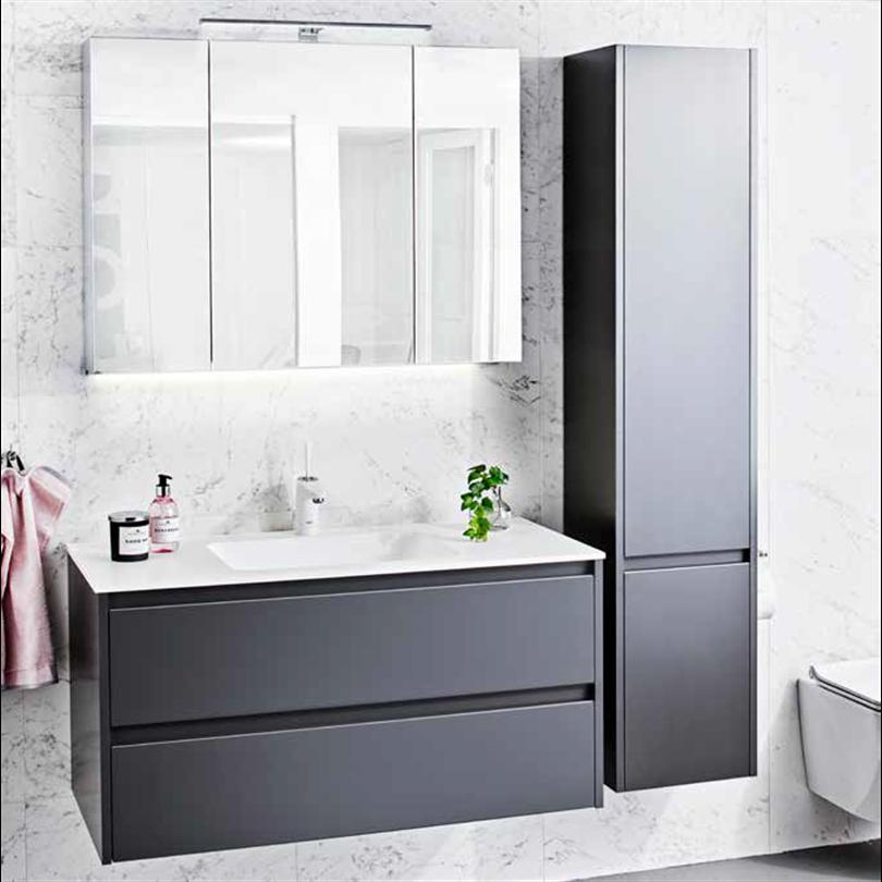 Alterna All Day badrumsmöbler, Grå matt, spegelskåp 950