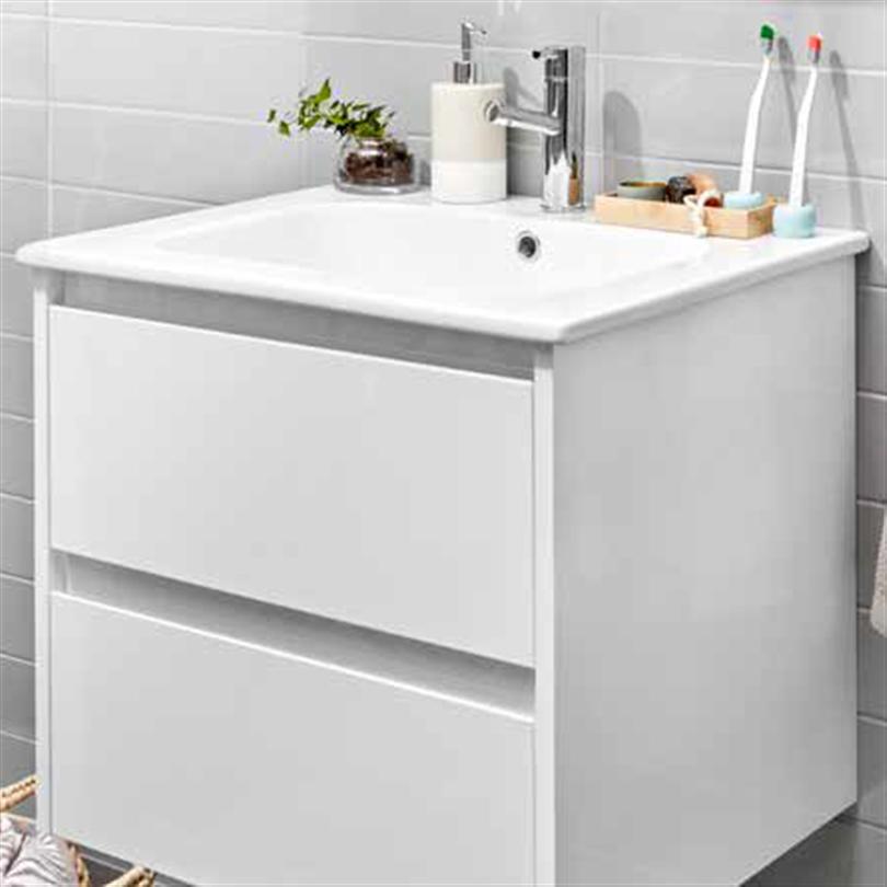 Alterna All Day kommod med tvättställ av porslin, vit