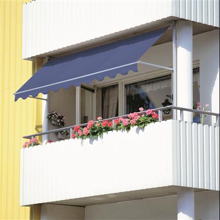 Balkongmarkis, fallarmsmarkis med justerbar fjäderspänning, för inbyggda balkonger