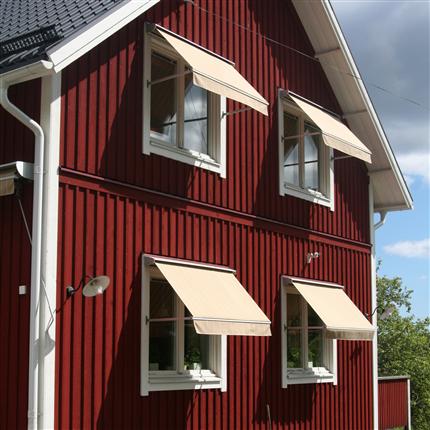 Fönstermarkiser med aluminiumkassett, kraftig markis med fallarmar