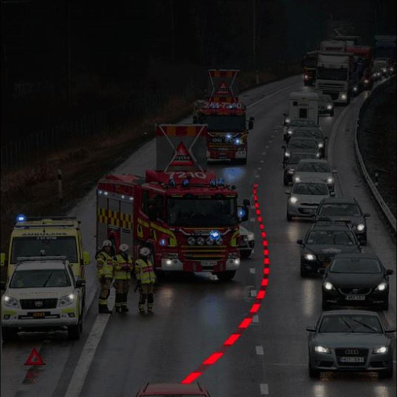 TR Belyst vägmarkering, rörligt ljus