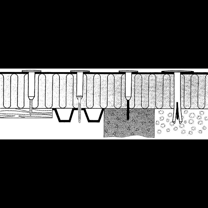 Exempel på infästning i olika underlag
