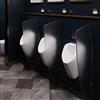 UNO-skärmar som avgränsar urinaler. Modell Oblique, transparent