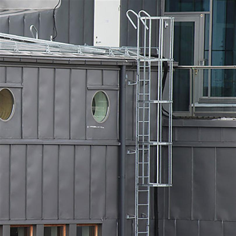 Weland fast fasadstege med skyddskorg