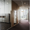 Glasväggar, maximala glasytor, avkall på ljudmiljön, aluminiumprofil