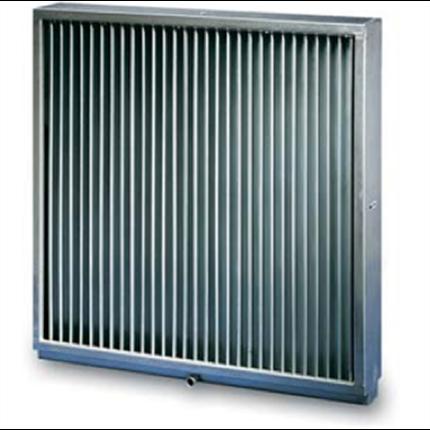 Intagsgaller av metall som regnskydd för luftfilteranläggningar