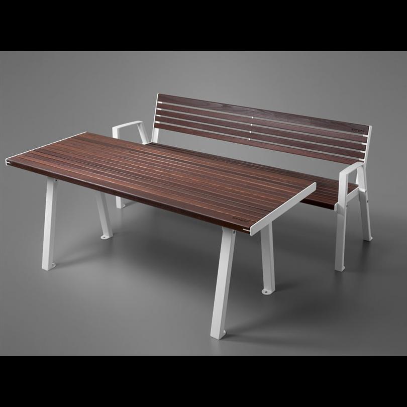 Extery Klaar wood parksoffa och parkbord, thermo vit stomme