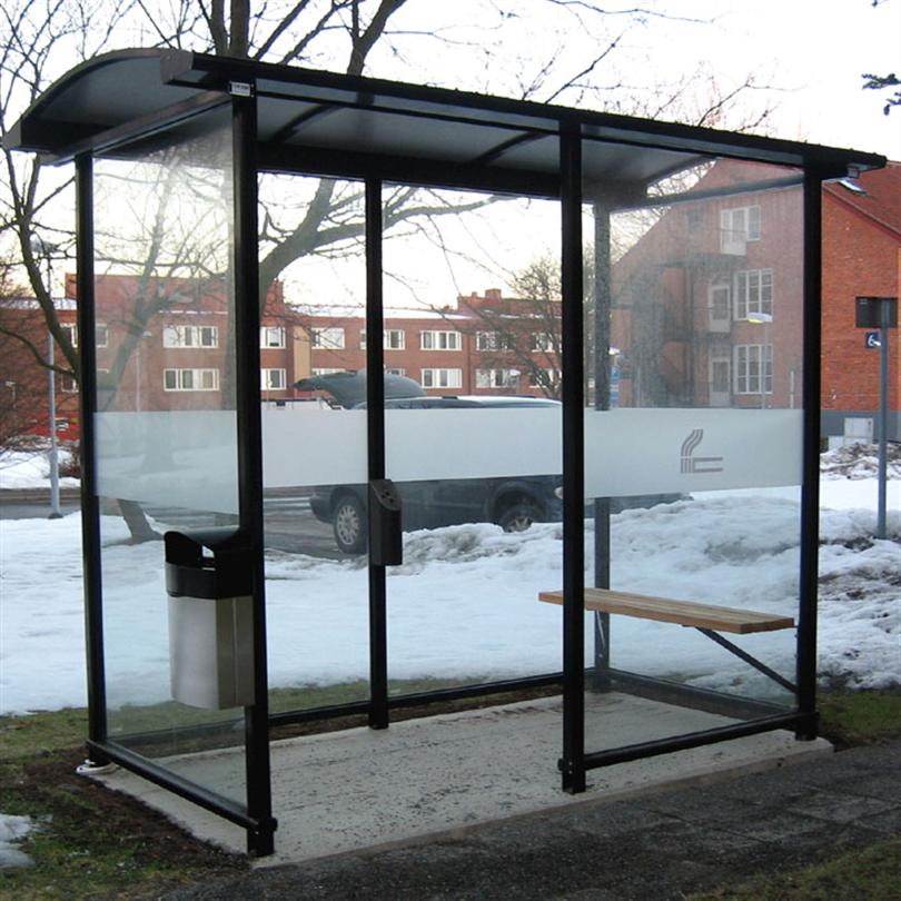 Rökhus för offentliga miljöer, aluminumprofiler, tak av kanalplast