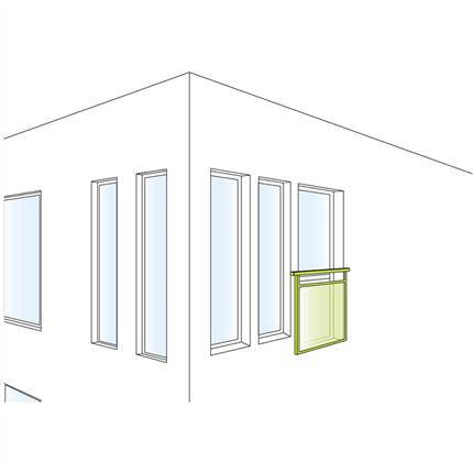 Weland fransk fönsterdörr/-räcke, principskiss