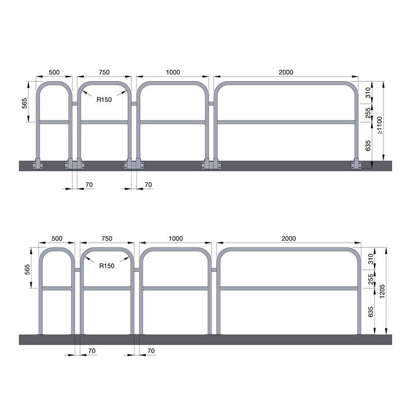 Weland modulräcke, montagealternativ